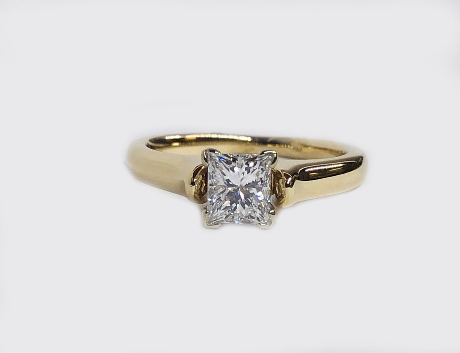 Engagement Diamond Ring Princess Cut 14 Karat Yellow Gold