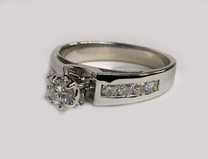 Engagement Diamond Ring 14 Karat White Gold