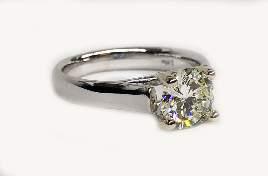 Diamond Engagement Ring 14 Karat White Gold
