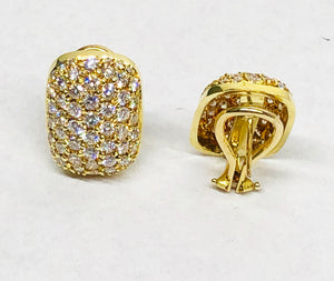 Pave Diamond Earrings 18 Karat Gold
