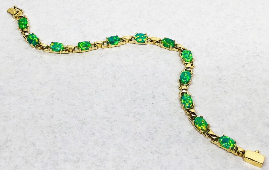 Green Opal Bracelet in 14 Karat Yellow Gold