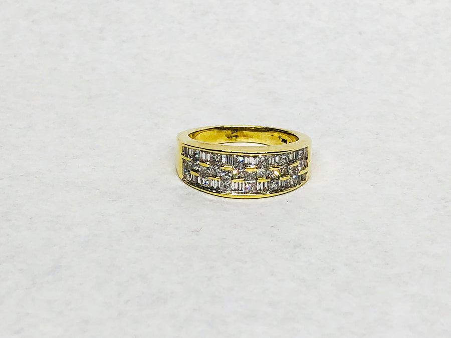 Princess Baguette Cut Diamond Band 14Karat Yellow Gold