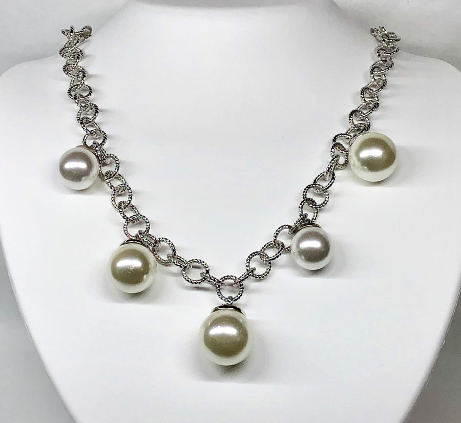 Rebecca Pearl Necklace Bronze Rhodium Plating