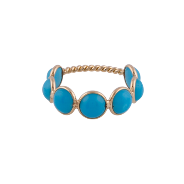 Turquoise Round Ring Band in 18k Yellow Gold