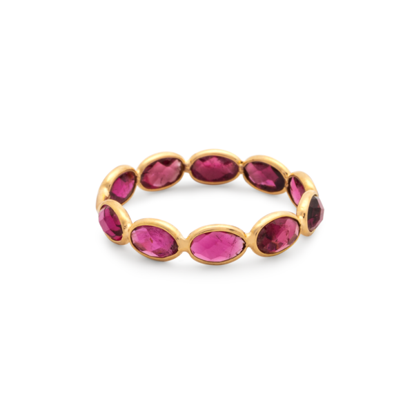 Oval Tourmaline Stackable Ring in 18 Karat Yellow Gold