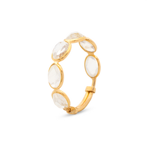 Faceted Oval Moonstone Ring Band in 18K Yellow Gold