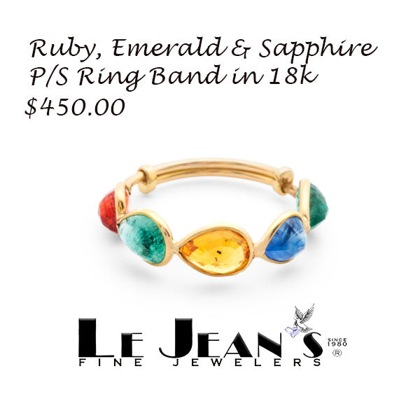 Ruby, Emerald & Sapphire P/S Ring Band in 18k Yellow Gold