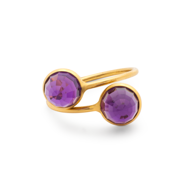 Amethyst Round Rose Cut Ring in 18 Karat Yellow Gold