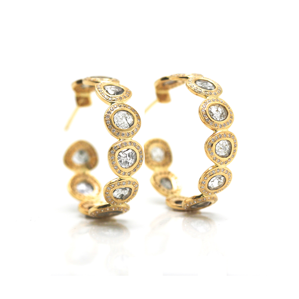Raw organic diamond slice & colorless brilliant diamond hoops 18K