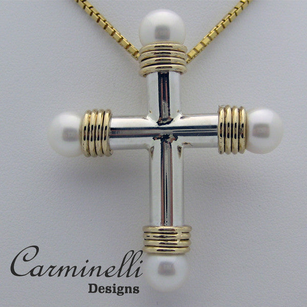 The Way of the Cross Collection Sterling, 14 Karat Yellow Gold and  Pearls