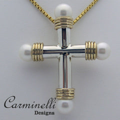 Carminelli Sterling Silver and 14 Karat Yellow Gold Cross with Pearls