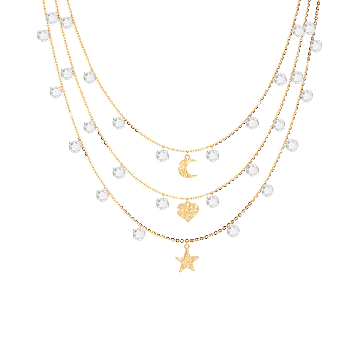 Rebecca Triple Necklace in Sterling Silver and Gold Plating Swarovski Crystals