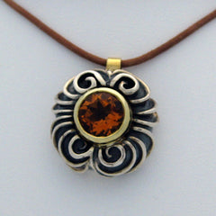 Citrine and Sterling Silver Pendant