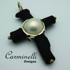 Black Coral and Pearl Cross Sterling Silver