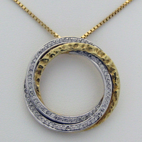 Diamond Pendant Circles 14 karat Yellow Gold