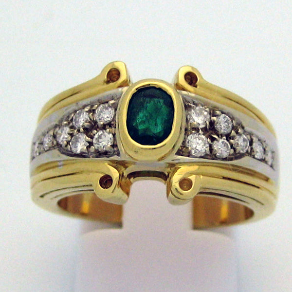Emerald and Diamond Ring in 18 Karat Gold