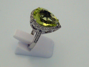 Green Quartz Ring 14k White Gold