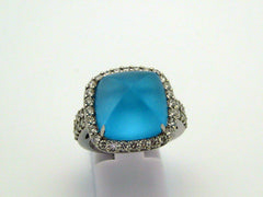 Blue Topaz Ring 18k White Gold
