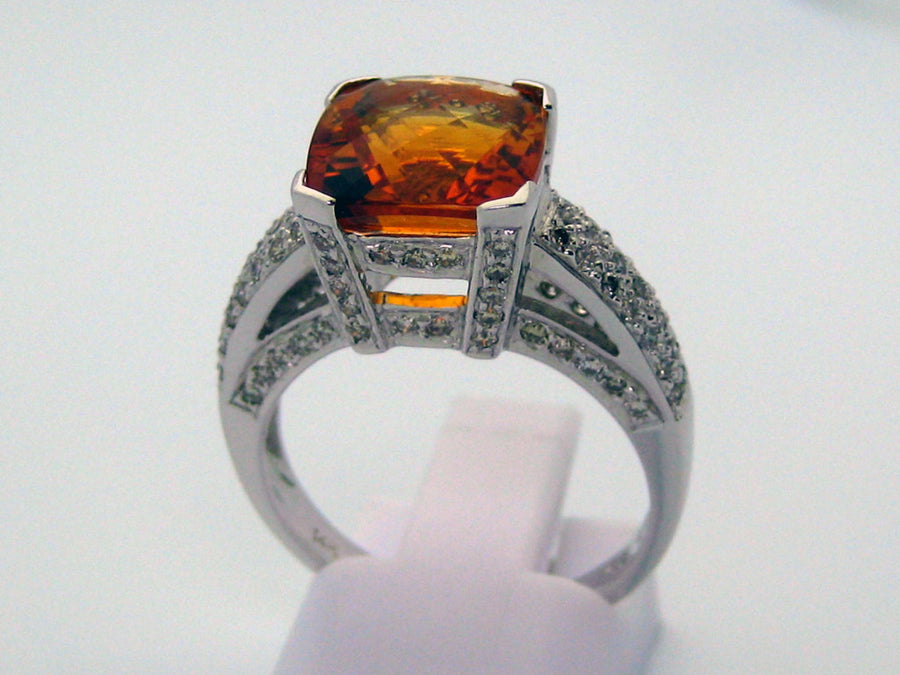 Citrine Ring 14k White Gold