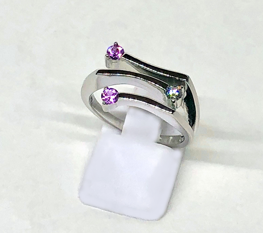 Pink Sapphire Diamond Ring 14 White Gold