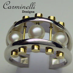 Carminelli Pearl Ring Yellow and White Gold