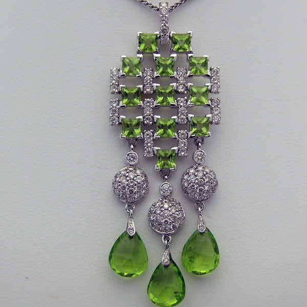 Green Peridot Necklace with Diamonds in 18 Karat White Gold