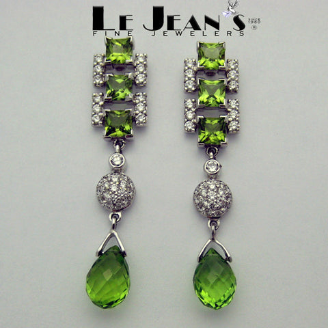 Green Peridot and Diamonds Dangle Earrings in 18k White Gold