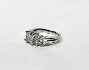 Princess Cut Diamond Ring 14 Karat White Gold 1.0Cts