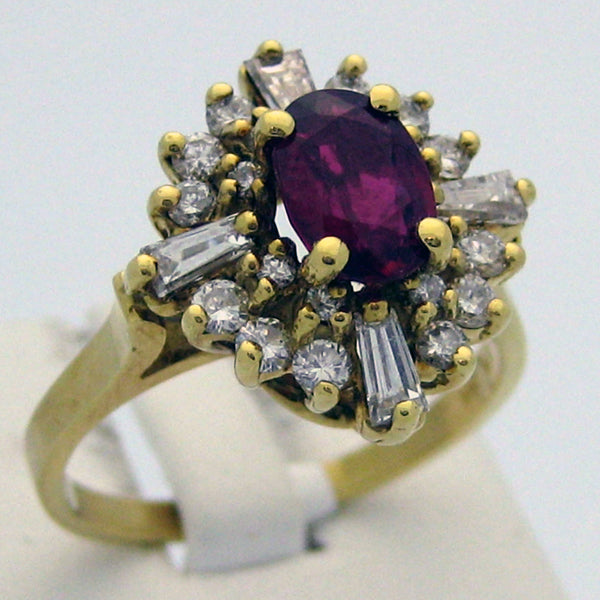 Ruby and Diamond Ring in 18K Yellow Gold