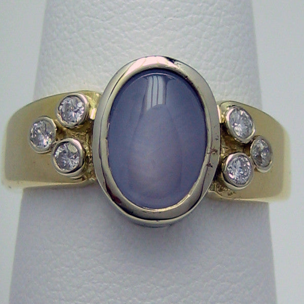Carminelli Star Sapphire Ring Diamonds Gold