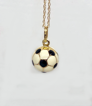 Italian Soccer Ball 14 Karat and Enamel Pendant