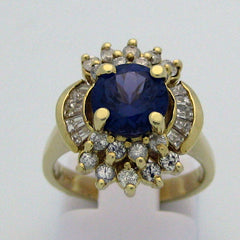 Blue Spinel and Diamond Ring in 14 Karat Yellow Gold