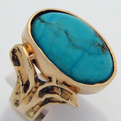 Turquoise in 14 Karat Yellow Gold Ring