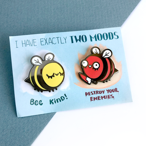 Two Moods Bee Pins
