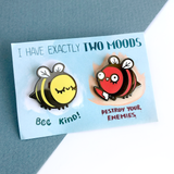 Two Moods Bee Pins SECONDS SALE