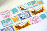 Thank You Punny Animals Foil Washi Tape