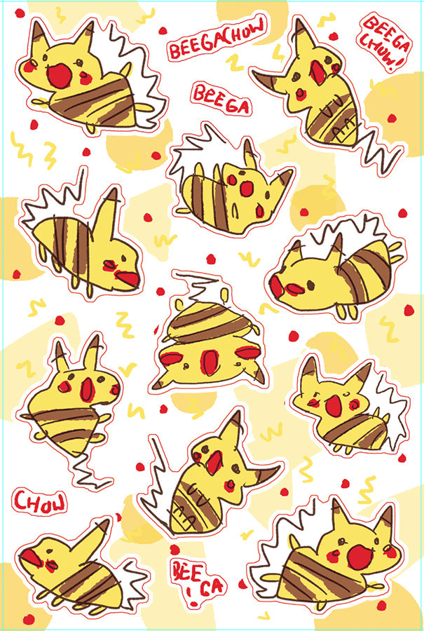 Beegachow Sticker Sheet
