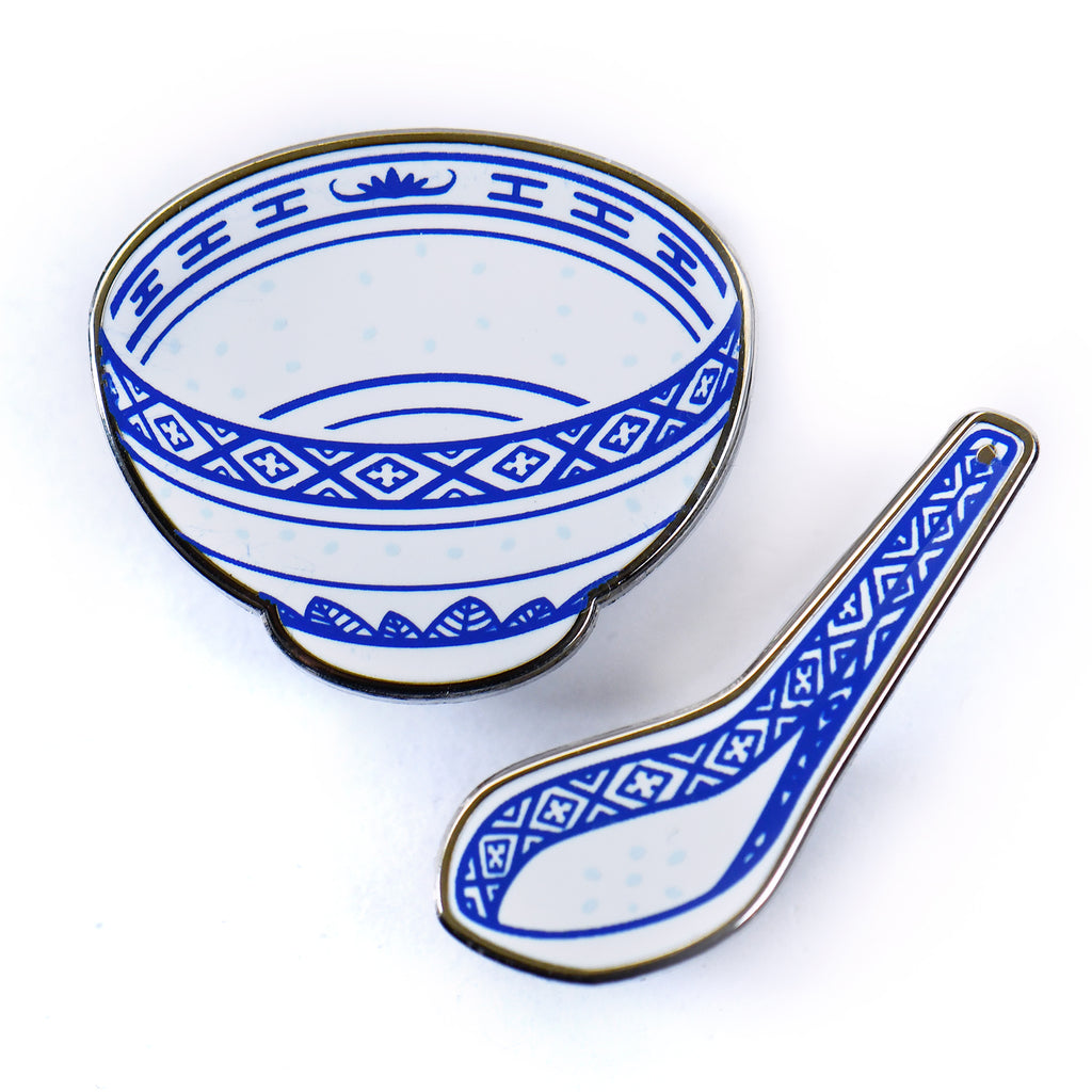 Chinese Porcelain Bowl & Spoon Pins