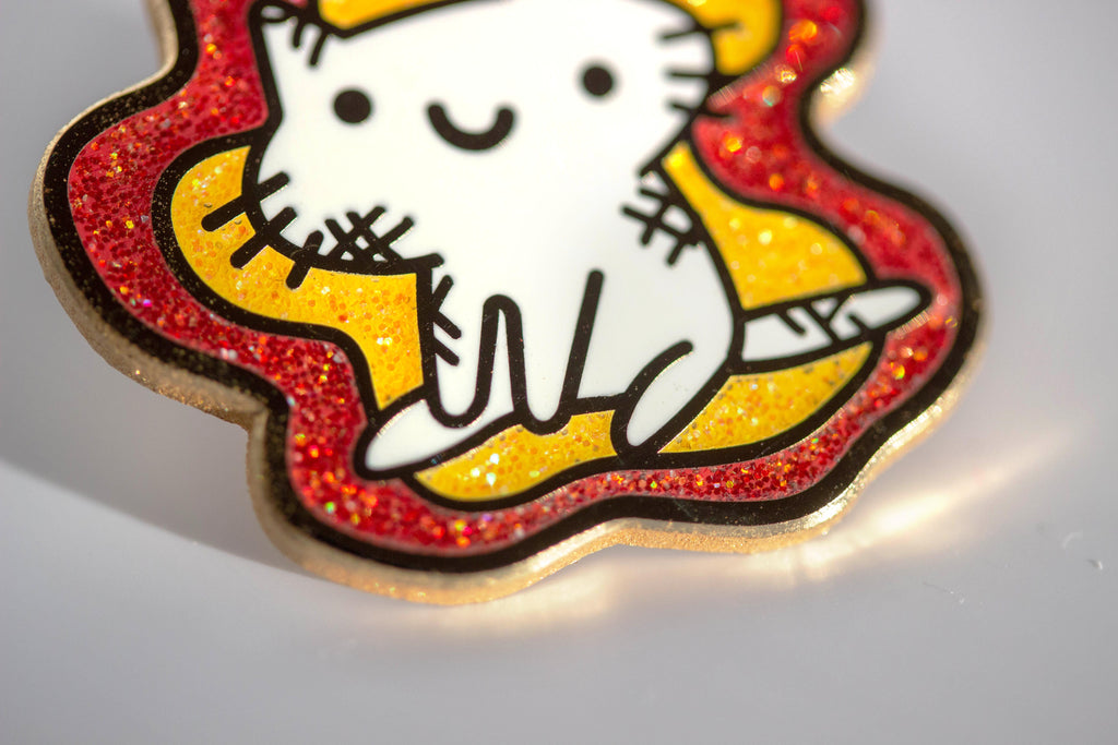 On Fire Squiggle Cat Pin