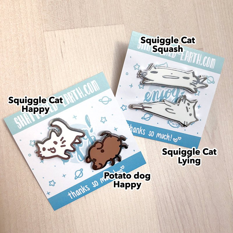 Squiggle Cat and Potato Dog Pins