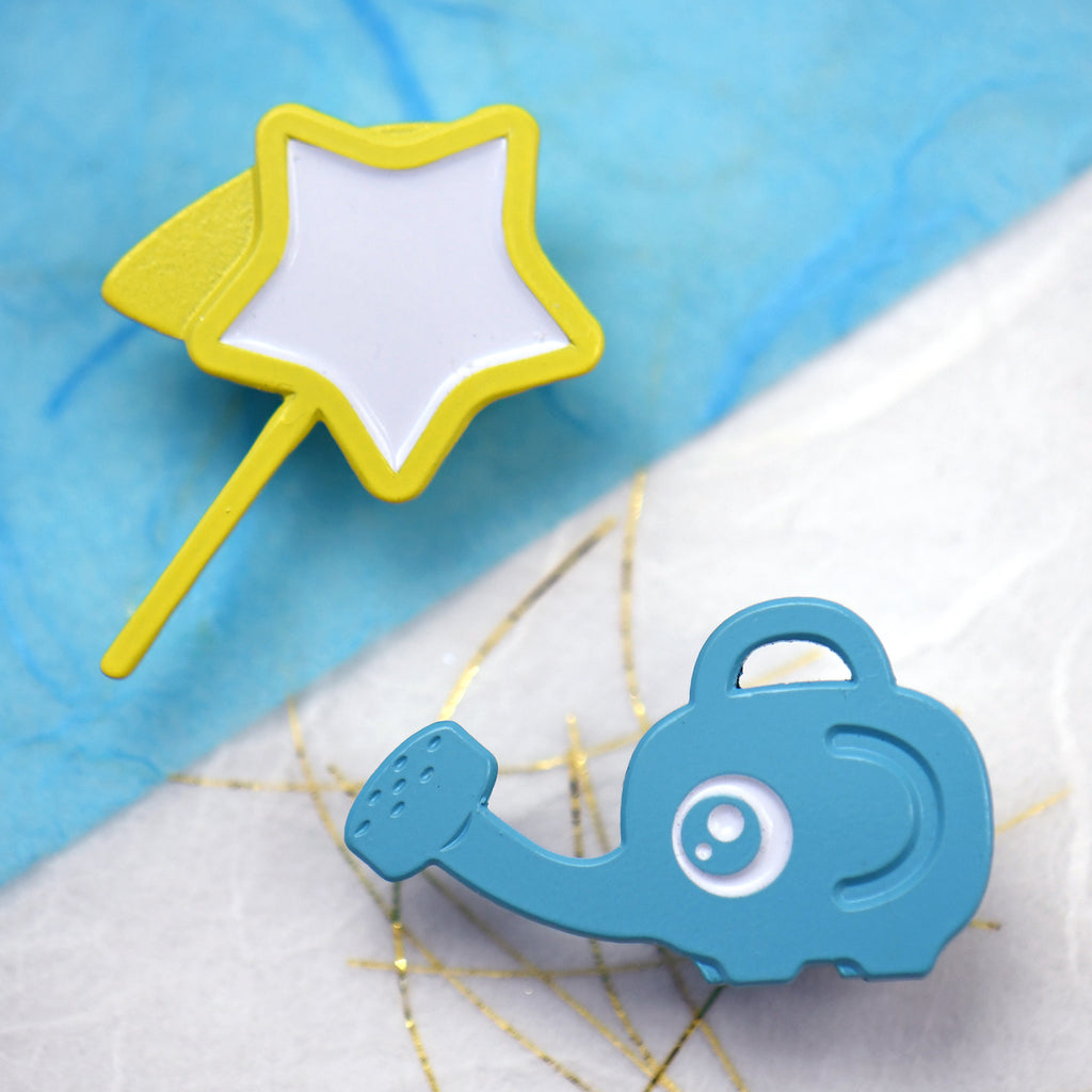 Star Net and Elephant Watering Can Pins