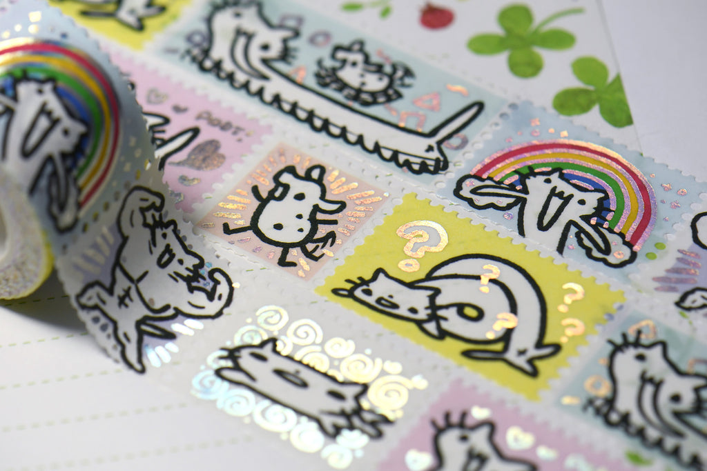 Squiggle Cat Foil Stamps Washi Tape