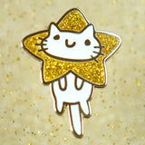 Star Head Squiggle Cat Pin