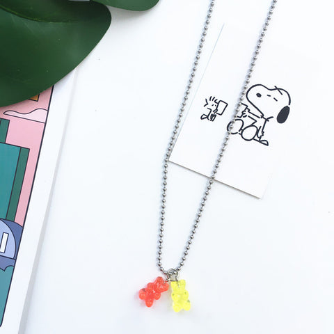 2pcs Handmade Stainless Steel Colorful Candy Bear Necklace - Just Cool Stuffs
