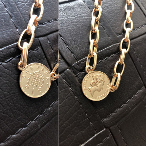 TRENDY GOLD COLOR PLATING COIN PENDANT CHOKER NECKLACE FOR WOMEN - Just Cool Stuffs