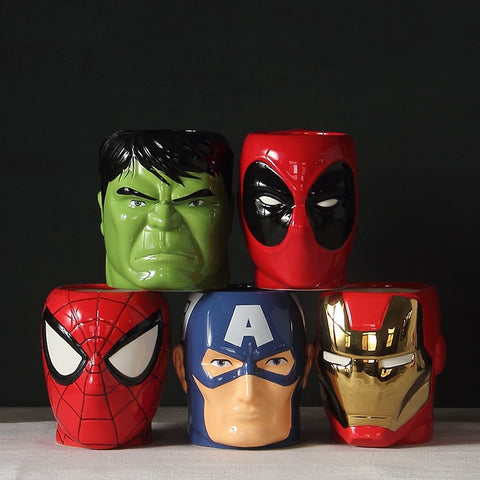 2018 Fashion Super Hero Iron man and batman Spiderman Ceramic Mugs Cup Creative Milk Mug Cartoon The Avengers Bowls 300ml - Just Cool Stuffs