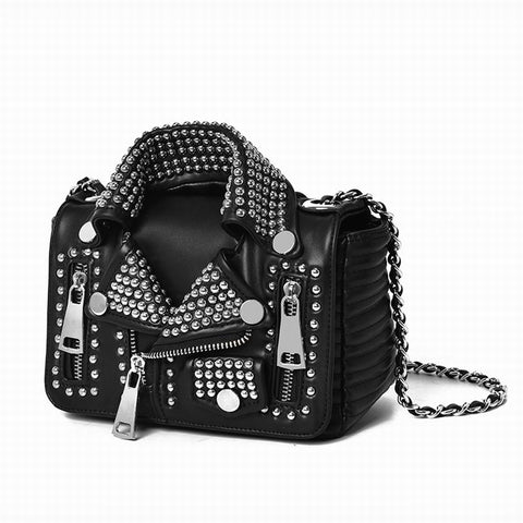 Handicraft Rivet Jacket Punk Style Women Leather Bags - Just Cool Stuffs