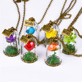 Dried Rose Bottle Pendant Necklace - Just Cool Stuffs
