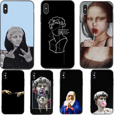 Mona Lisa Art David lines soft silicone Phone Case - Just Cool Stuffs