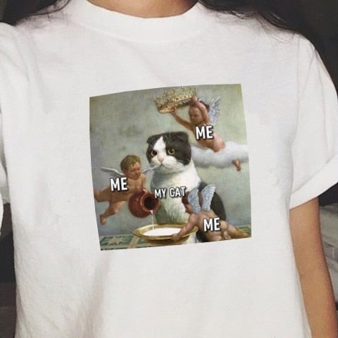 Me Me Me My Cat Graphic Tee Summer Cute Women Tshirt - Just Cool Stuffs